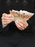 Euros over black Stock Images