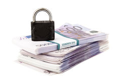 Euros and padlock Royalty Free Stock Images