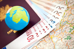 Euros and passport Royalty Free Stock Images