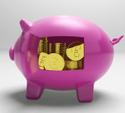 Euros In Piggy Shows Wealth And Success Royalty Free Stock Photo