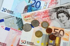 Euros and pounds. Stock Image