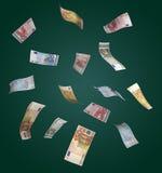 Euros que caen de arriba Imágenes de archivo libres de regalías