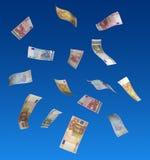 Euros que flotan en aire Imágenes de archivo libres de regalías