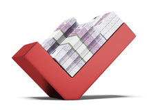 Euros on red tick mark Stock Photo