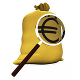Euros Sack Shows European Money Eur Or Cash Stock Photos