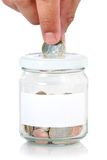 Euros in saving jar Royalty Free Stock Images