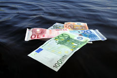 Euros sinking Royalty Free Stock Photography