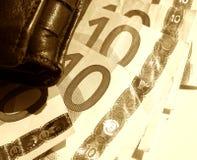 euros skissar plånboken Royaltyfri Fotografi