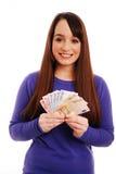 euros som rymmer kvinnan royaltyfri foto