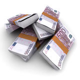 500 Euros stacks. Stacks of 500 Euros against a white background Stock Images