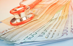 Euros with Stethoscope Stock Photo