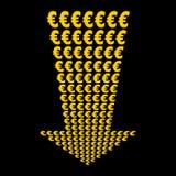 Euros symbol down arrow Royalty Free Stock Photography