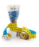 Euros and tape measure Royalty Free Stock Photography