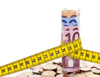 Euros and tape measure Royalty Free Stock Photos