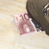 Euros trampled. Concept of bad economy and critical time be addressed Stock Image