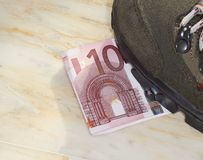 Euros trampled. Concept of bad economy and critical time be addressed Royalty Free Stock Image