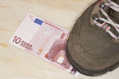 Euros trampled Royalty Free Stock Photos
