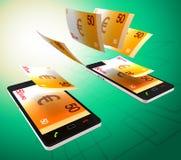 Euros Transfer Represents Cellphone Money e operação bancária ilustração royalty free