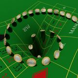 Euros vanish in roulette table Royalty Free Stock Photos