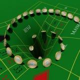 Euros vanish in roulette table. Euros vanish at gambling game Royalty Free Stock Photos