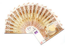 Euros wad. A wad of fifty euros banknotes Stock Images