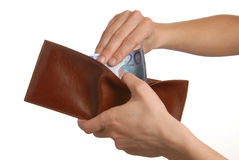 Euros in the wallet Stock Image