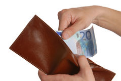 Euros in the wallet Stock Images