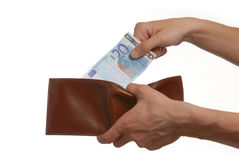 Euros in the wallet Royalty Free Stock Photo