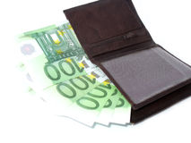 Euros in wallet. Seven hundred euros in brown wallet. Isolated object on white Royalty Free Stock Images