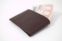 Euros in a wallet. Brown wallet with Euros sticking out Royalty Free Stock Photography