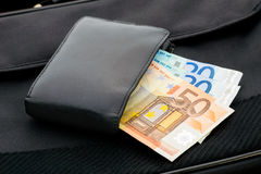 Euros in a Wallet Royalty Free Stock Photo