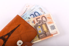 Euros in wallet Royalty Free Stock Photos