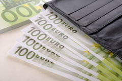 Euros and wallet Stock Image
