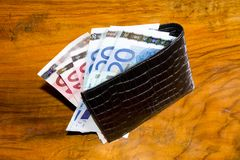 Euros in  wallet, on vintage brown backgroun Stock Photography