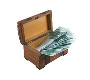 Euros in the wooden chest Stock Photography