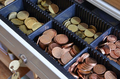 Euros y centimos. EU Money - euros and cents, cash register Royalty Free Stock Photo