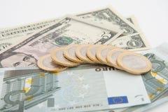 Euros y dólares Fotografía de archivo libre de regalías