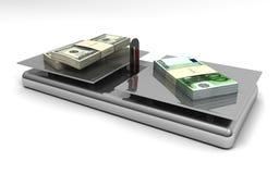 Euros y dólares de balance del dinero en circulación Fotografía de archivo libre de regalías