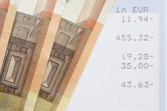Euros y declaraciones de cuenta Fotografía de archivo libre de regalías
