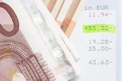 Euros y declaraciones de cuenta Imagen de archivo