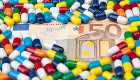 Euros y medicina Fotografía de archivo libre de regalías