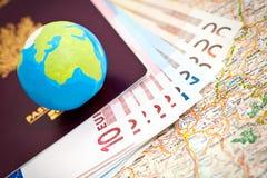 Euros y pasaporte Imágenes de archivo libres de regalías