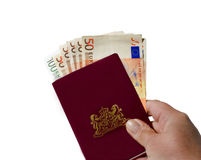 Euros y pasaporte europeo Foto de archivo libre de regalías