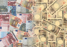 Euros and Yen Royalty Free Stock Photos