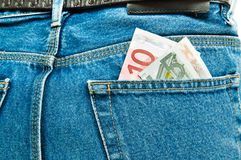 Euros in your pocket Royalty Free Stock Image