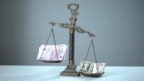 Euroschwächeres als der Dollar, der auf Skalen, Währungsstärke und Stabilität überwiegt stockfoto