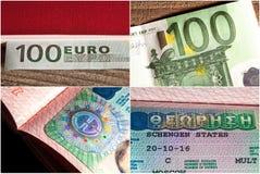Eurosedel på träbakgrund och ett Schengen visum i passet arkivfoto