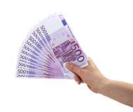 500 eurosedlar Fotografering för Bildbyråer