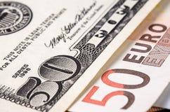 Eurosedlar från den första serien av olika valörer arkivfoton