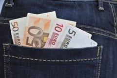 Eurosedlar i jeans Fotografering för Bildbyråer